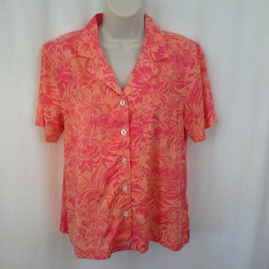 Erika womens Hawaiian camp shirt PM Orange Aloha